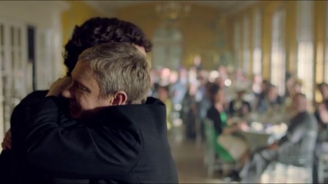 Sherlock & John hug